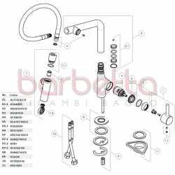 """RICAMBIO COPPIA TUBI FLEX MOL M8x1 RID.GRAF. CALOTTA 3/8""""G MM.400 W270 SPX NOBILI RTUK203/45"""